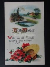 Poppies BEST WISHES - OLD FRIENDS HEARTY GOOD WIDHES c1914 Old Embossed Postcard