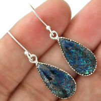 Natural Azurite Chrysocolla 925 Sterling Silver Earrings Jewelry 4942