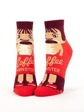 Blue Q Coffee Monster Funny Caffeine Cartoon Red Ankle Socks