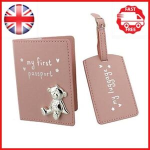 Button Corner PU My First Passport & Luggage Tag Set with metal teddy icon Pink