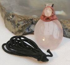 Pink Rose Quartz Gemstone Crystal Oval Pendant - Healing Reiki Blessed