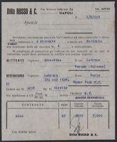 KT0035 1950 Napoli - Ditta Russo & C. - Spedizione Olio a mezzo s/s Saturnia