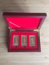 NED KELLY UNIQUE BOXED SET OF 3 / 10 GRAM GOLD INGOTS - FINISHED IN 24K GOLD  -