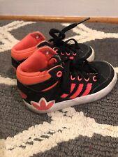ADIDAS TOP TEN Hi Tops Black & Fluorescent Pink Sneakers Toddler Sz 7K 7 👗#s2m1