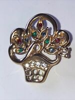 Vintage Costume Jewellery Little Rhinestone Flower Basket Gold Tone Brooch
