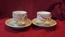 Golden 50th Wedding Anniversary China Tea Cups White & Green / Gold trim