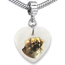 Tibetan Spaniel Heart Dangle Mother Of Pearl European Bracelet Charm Bead Ebs200