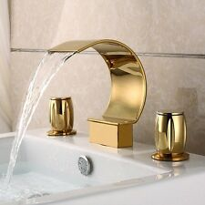Bathroom Sink Faucet Gold Double Handles Widespread Waterfall Tub Faucet