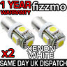 2x 5 SMD LED XENON WHITE SIDE LIGHT BULB 233 T4W BA9S BAYONET CAPPED 360 DEG UK