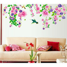6900014 | Wall Stickers Floral Vine Beautiful Bell Flowers & Humming Birds