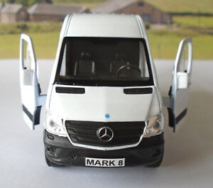 PERSONALISED PLATES White Mercedes Sprinter Van Boys Dad Toy Model Present Boxed