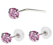 14K Solid Wite Gold 3mm Pink CZ L Shape Nose Stud and Earrings