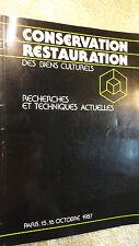 conservation  restauration des biens culturels  1987