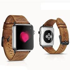 Real Marrón Cuero Reloj Correa de banda para Apple Watch 42mm serie 1 2 Negro de fijación