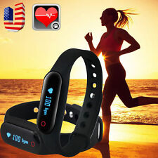 Fitness Heart Rate Monitor Smart Pedometer Bracelet Wristband Watch Sweatproof
