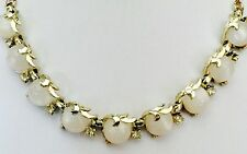 VINTAGE Coro Thermoset Lucite White Moonglow Cab Rhinestone Necklace 16""