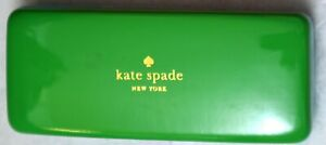 NEW Kate Spade Eyeglass/Sunglasses Hard Clam Shell Case With Cloth, Green w Blue