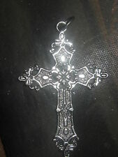 WHOLESALE LOT OF 10 LARGE METAL ALLOY 50MM SILVER GOTHIC CROSS PENDANT CHARMS