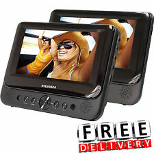 "Dual Screen Portable Car DVD Player 2Pc 7"" Headrest Black LCD Vehicle Monit"