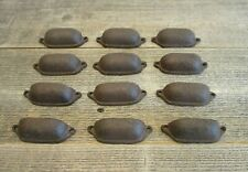 "12 CAST IRON BROWN 3"" ORNATE PULLS DRAWER CABINET BIN HANDLES RUSTIC VINTAGE"