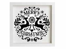 Merry Christmas Decal Vinyl Sticker Ikea Ribba Box Frame Gift DIY Stencil Craft
