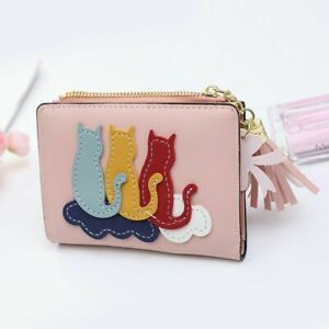 Women Card Holder With Cat Leather Credit Cards Case Lady Female Mini Wallet