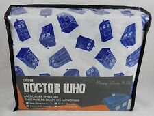 Doctor Who Dr Tardis Microfiber Queen Size Sheet & Pillowcase 4Pc Set Soft New