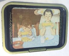 Vintage T.V. Food Tray Norman Rockwell Who's Having More Fun? Picture Distressed