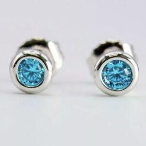 Tiffany & Co Silver Elsa Peretti Blue Aquamarine By Yard Earrings w/ Pouch & Box