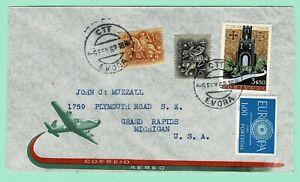 PORTUGAL 1962 Air Mail Cover EVORA > Grand Rapids MI Proper 6$10 5 to 10g Rate