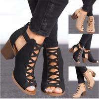 Summer Womens Hollow Cut Out Peep Toe Mid Heel Sandals Zipper Casual Dress Shoes