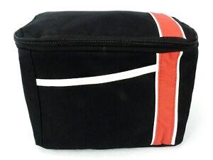 Insulated Cooler Bag, Zippered, Slip Pocket, Black w/Red Stripe, Sweda ~ #TB5060