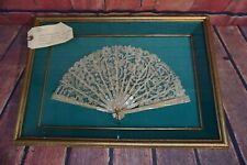 Mother of Pearl & Lace Hand Fan Custom Shadow Box w/ High Quality Frame