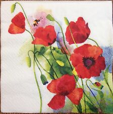 20 paper napkins Decoupage Collection Flowers poppies Maquis Watercolor #2506