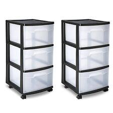 Sterilite 3 Drawer Cart Storage Plastic Box Organizer Cabinet Home X 2 Rolling