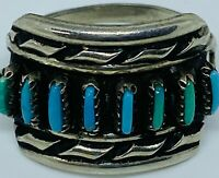 Vintage Native American Zuni Sterling Silver Petite Needlepoint Turquoise Ring