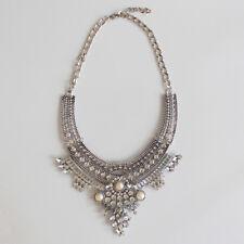 NEW!! Boho diamante and pearl bib necklace