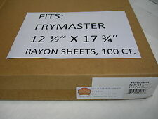 """12.5""""X17.75"""" FILTER PAPER 100ct. FITS FRYMASTER  HOT OIL RAYON FILTER SHEETS"""