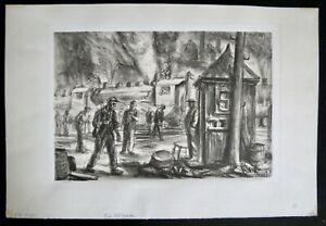 REGINALD MARSH Erie R. R. Yards WPA NY / VT Hand Signed lithograph print Vintage