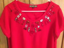 Gorgeous BIBA bright red embellished blouse, Size 14