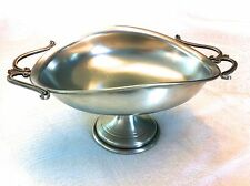 RARE Vtg Art Italica Style Pedestal Pewter Candy Dish French Handle Italy