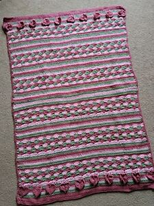 Large 47 in. by 32 in. Throw Blanket~New~ Handmade~Pinks and Green~With Hearts