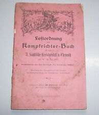 Festordnung Kampfrichter Buch 3. sächsisches Kreisturnfest Chemnitz 1905 !
