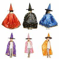 Halloween Kostueme Hexe Zauberer Umhang mit Hut fuer Kinder Jungen Maedchen D3M3