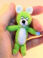 "Miniature Artist made non-jointed Lime Teddy Bear 3 1/4"" OOAK by Beth Hogan"