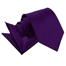 DQT Satin Plain Solid Purple Mens Classic Tie & Hanky Wedding Set