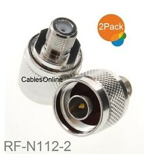 2-Pack F-Type Female to N-Type Male Antenna RF Adapter, CablesOnline RF-N112-2