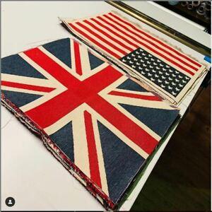 Union Jack Flag Retro Linen Look Heavy Jacquard Gobelin Panel Fabric UK Banner