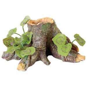 Reptile Trunk & Silk Plant & Hide Ornament Root Stump Decoration For Vivarium