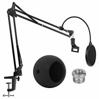 Adjustable Mic Stand Boom Scissor Arm Stand with Microphone Windscreen